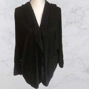 Bliss black open front cardigan with hood, M